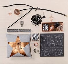 Bloomingville Christmas Decoration 2014 in Copper & Black Colour - #Bloomingville #Christmas Candlestick Star Shaped, #Christmasgifts, Pompoms, #Christmaspillow, House Lightholder & Candles!