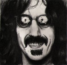 """Frank Zappa. One of the 25 people in the giant collaboration that I'm doing. Approx. 4 hrs. And yes, """"Don't Eat the Yellow Snow"""" is the title of a Frank Zappa song."""