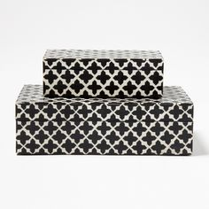 """Set of 2 patterned boxes Wood and Resin 7 1/4"""" W x 4 1/4"""" D x 2 1/4"""" H 10"""" W x 6 1/4"""" D x 3"""" H"""