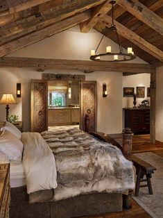 Home Interior Livingroom Breathtaking rustic ranch house tucked into the Beartooth Mountains.Home Interior Livingroom Breathtaking rustic ranch house tucked into the Beartooth Mountains Rustic Master Bedroom Design, Rustic Home Design, Farmhouse Master Bedroom, Home Decor Bedroom, Bedroom Ideas, Bedroom Furniture, Modern Bedroom, Bedroom Rustic, Bedroom Designs