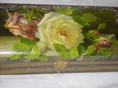 ANTIQUE VICTORIAN C KLEIN UNSIGNED YELLOW ROSES RED ROSE BUD CELLULOID GLOVE BOX