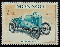 Vintage Racing Car Peugeot 1910 Monaco stamp 1967