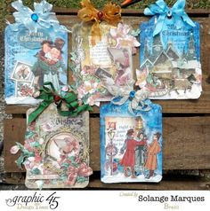 Christmas Tags by Solange Marques with Graphic 45 Christmas Carol. Tutorial on Graphic 45 website!!