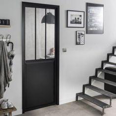 Bloc-porte noir Atelier verre clair ARTENS, H.204 x l.73 cm poussant droit | Leroy Merlin
