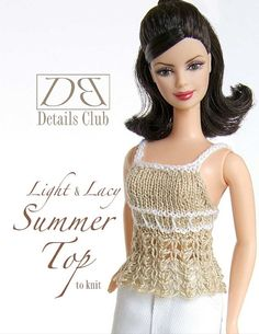 """Knitting pattern for 11 1/2"""" doll (Barbie): Lace Top"""