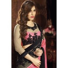 Charming Black and Coral Pink Embroidered Saree
