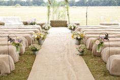 30 Hessian and Lace Hay Covers - Rustic Barn Wedding