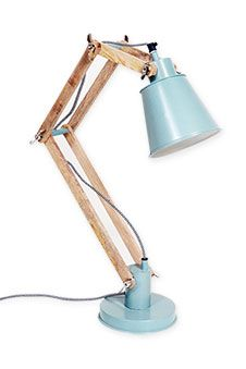 Timber Desk Lamp: Desk Lamp Two Arm Timber - Sea Green,Lighting