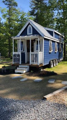 """Tiny House Tour of """"Clara"""" Tiny Home on Wheels! Walkthrough video tour of the """"Clara"""" tiny house on wheels built from a Tumbleweed plan and currently for rent in South Hampton, New Hampshire. Tiny House Village, Tiny House Cabin, Tiny House Living, Tiny House Plans, Tiny House On Wheels, Living Room, House To Home, Tiny Home Floor Plans, Tiny Guest House"""