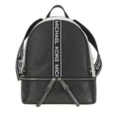 8ba331ec10d737 US $212.66-Michael Kors Rhea Medium Pebbled Leather Backpack - Black /  Optic White