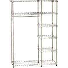 standing closet for closetless apartments - commercial-style chromed steel rack with five shelves and hanging bar
