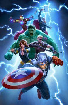 AVENGERS FCBD POSTER, Mike Capprotti on ArtStation at https://www.artstation.com/artwork/avengers-fcbd-poster