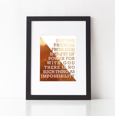 No One Promise From God Is Empty of Power Wall Print//Real Foil Print//Copper Foil//Bible Verse Print by fifteenandseven