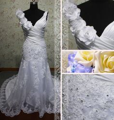 white vneck flowers aline lace appliques by Loveannaweddingdress, $299.00