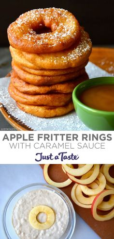 Easy Apple Fritter Rings star juicy apple slices dunked in buttermilk batter and fried until golden brown. Dip these fruit-filled doughnuts in caramel sauce or roll them in cinnamon sugar for the ultimate fall dessert! justataste.com #applefritters #doughnutrecipe #applefrittersrecipeeasy #falldessert #falltreats #applerecipes #justatasterecipes Apple Fritters, Food Tasting, Fall Treats, Apple Slices, Fall Desserts, Apple Recipes, Quick Easy Meals, Apple Crescent Rolls, Kids Meals