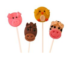 Farm Animal Marzipop™ Artisan Marzipan Lollipops - Adorable cupcake toppers or favors for your party! by marzipops on Etsy