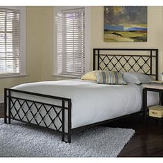 @Overstock - Lattice bed showcases a transitional style  Furniture features double rails on the top and ends of the headboard and footboard  Queen-size bed features rectangular tube framehttp://www.overstock.com/Home-Garden/Lattice-Queen-size-Bed/4231740/product.html?CID=214117 $254.99