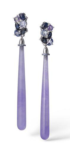 BLUEBERRY FIELDS EARRINGS by VOTIVE • Purple Jade, Blue Sapphires, White Diamonds, 18k Yellow Gold