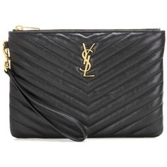 Saint Laurent Monogram Leather Clutch (11.250 CZK) ❤ liked on Polyvore featuring bags, handbags, clutches, black, black leather purse, black handbags, genuine leather handbags, real leather handbags and leather handbags
