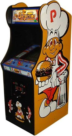 1982: Burgertime by DataEast. Help Peter Pepper  defeat Mr. Hot Dog, Mr. Pickle, and Mr. Egg by dropping the ingredients to complete the burgers...a classic! The cabinet looks really great with a big Peter Pepper as sideart. Clic for gameplay video.
