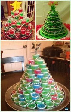 DIY Stacked Jello Shot Christmas Tree Recipe Instruction -DIY Holiday #Jello Shot Recipes for #Christmas