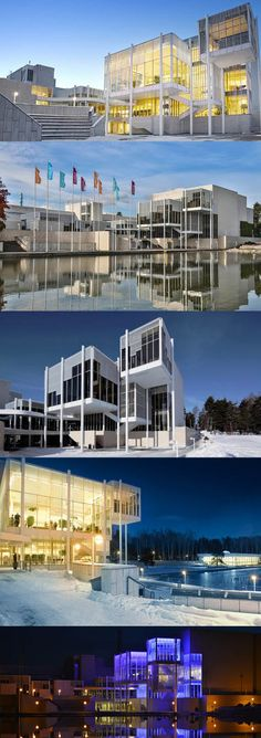 1991 Sipinen - Espoo Cultural Centre / Tapiola Finland / steel glass stone / white