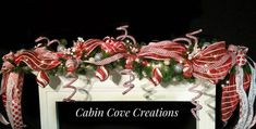 Christmas Mantel Garland Sweet Treat Candy red white silver prelit Lights OVER THE TOP Holiday Custom Design by Cecilia Cabin Cove Creations Christmas Mantel Garland, Christmas Mantels, Christmas Decorations, Holiday Decor, Silver Christmas, Christmas Candy, Christmas Treats, Candy Red, Gingerbread