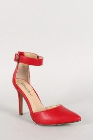 Breckelle Leatherette Ankle Strap Buckle Pointy Toe Pump