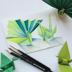 Green origami crane & peacock - watercolour painting by Zoya Makarova (@zoya_art on instagram)