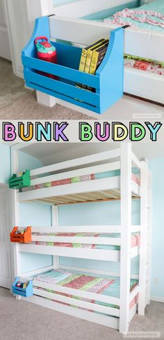 Woodworking Ideas For Home How to make a DIY bunk buddy bunk bed shelf out of scrap wood!Woodworking Ideas For Home How to make a DIY bunk buddy bunk bed shelf out of scrap wood! Triple Bunk Beds, Full Bunk Beds, Bunk Beds With Stairs, Kids Bunk Beds, Boys Bedroom Ideas With Bunk Beds, Kids Beds For Boys, Childrens Bunk Beds, Attic Stairs, Amazing Bunk Beds