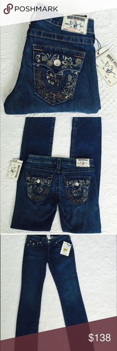 True Religion embroidered straight leg jeans Brand new with tag. Size 27, inseam 34. No trades  True Religion Jeans Straight Leg