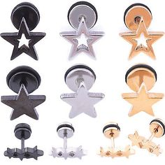 1PC STAR SILVER BLACK GOLD GP SURGICAL STAINLESS STEEL SCREW BACK STUD EARRINGS