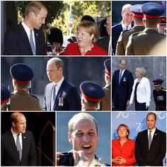 Prince William, Duke of Cambridge and German Chancellor Angela Merkel shake hands during the celebrations of the 70th anniversary of North Rhine-Westphalia - August 23rd 2016 in Düsseldorf, Germany