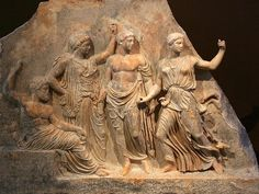 Relief of the Gods; left to right; Zeus, Leto, Apollo and Artemis - circa 450 - 400 BC, at the Brauron