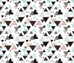 Geometric triangle aztec illustration hand drawn pattern mint and gender neutral beige fabric - surface design by Little Smilemakers on Spoonflower - custom fabric and wallpaper inspiration