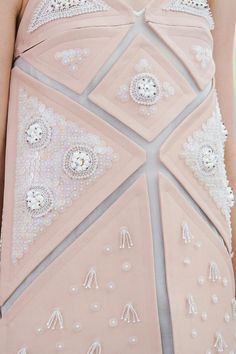 Structured dress with embellished geometric panels - fashion design detail; modern embroidery; sewing ideas // Delpozo S/S 2015