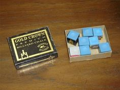 "8 piece set of premium billiard chalk in a vintage box  6 pieces are Gold Crown Premium (Brunswick Billiards) chalk, one piece is Master Premium chalk, and 2 pieces are Pioneer chalk  The Pioneer and Gold Crown chalk is 13/16"" (2.15 cm) square and the Master chalk is 7/8"" (2.3 cm) square  The box is lightly scuffed but all glued seams are still intact All pieces are made in U.S.A. and all appear to be unused"