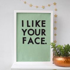 I Like Your Face Felt Typographic Art Work by House of Hooray, the perfect gift for Explore more unique gifts in our curated marketplace. Artwork Display, Framed Artwork, Closed For Christmas, Felt Letters, Color Depth, Colour, Statement Wall, Contemporary Artwork, Felt Art