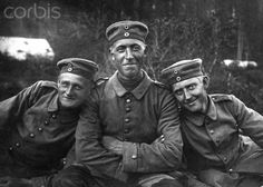 Three German soldiers in WW1 pose together, ca. 1917. - 42-32949981 - Rights Managed - Stock Photo - Corbis