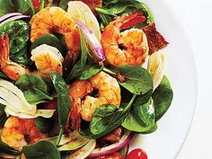 Fennel and Spinach Salad with Shrimp and Balsamic Vinaigrette | Red grape tomatoes add pops of color to this fresh spinach salad with shrimp. Add Fennel and Spinach Salad with Shrimp and Balsamic Vinaigrette to your weeknight menu when you need something quick, fresh and light.