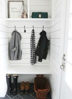 Looking for a tiny mudroom idea? This adorable nook makes the best mudroom space. Simple enough for a DIYer to complete in a couple weekends, this mudroom nook has a bench, coat hooks, and open storage above. Oh, and shiplap walls with herringbone tile Mini Closet, Hall Closet, Entry Closet, Front Closet, Closet Space, Hidden Closet, Decoration Hall, Mudroom Laundry Room, Mudroom Shelf