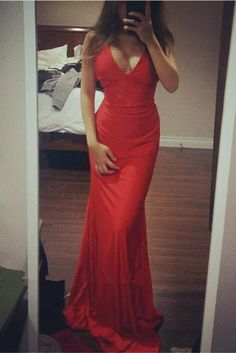 Sexy Red V-neck Simple Cheap Mermaid Long Charming Prom Dresses K721