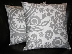 Throw Pillows 18 grey on white SUZANI 18x18 inch by beckorama, $26.00