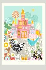 Majvillan Poster Blueberry bird Multi - Posters & tavlor   Ellos Mobile