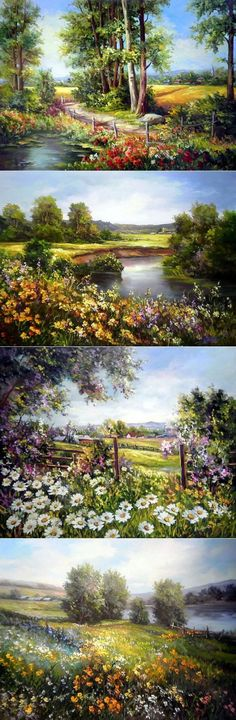Anca Bulgaru~ Floral Landscapes, Always With Ponds Or Lakes. Watercolor Landscape, Landscape Art, Landscape Paintings, Watercolor Paintings, Pictures To Paint, Art Pictures, Beautiful Paintings, Beautiful Landscapes, Graffiti Kunst