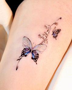 Bff Tattoos, Couple Tattoos, Mini Tattoos, Mother Daughter Tattoos, Tattoos For Daughters, Lily Of The Valley, Watercolor Tattoo, Tatting, Body Art