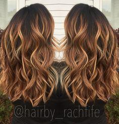 Warm caramel copper balayage stretched root. Fall haircolor Hair by Rachel Fife @ Sara Fraraccio Salon in Akron, Ohio