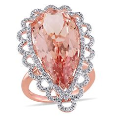 <li>Pear-cut morganite and round diamond cocktail ring</li> <li>14-karat rose gold jewelry</li> <li><a href='http://www.overstock.com/downloads/pdf/2010_RingSizing.pdf'><span class='links'>Click here for ring sizing guide</span></a></li>
