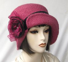 Raspberry the New Pink Wool Cloche Hat by Vintage Style Hats by Gail, via Flickr
