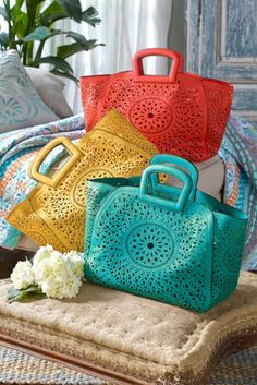 #cruelty#free Riviera Bag - Delicate laser-cut paisleys surround a stylized floral medallion in this vegan leather bag from Soft Surroundings